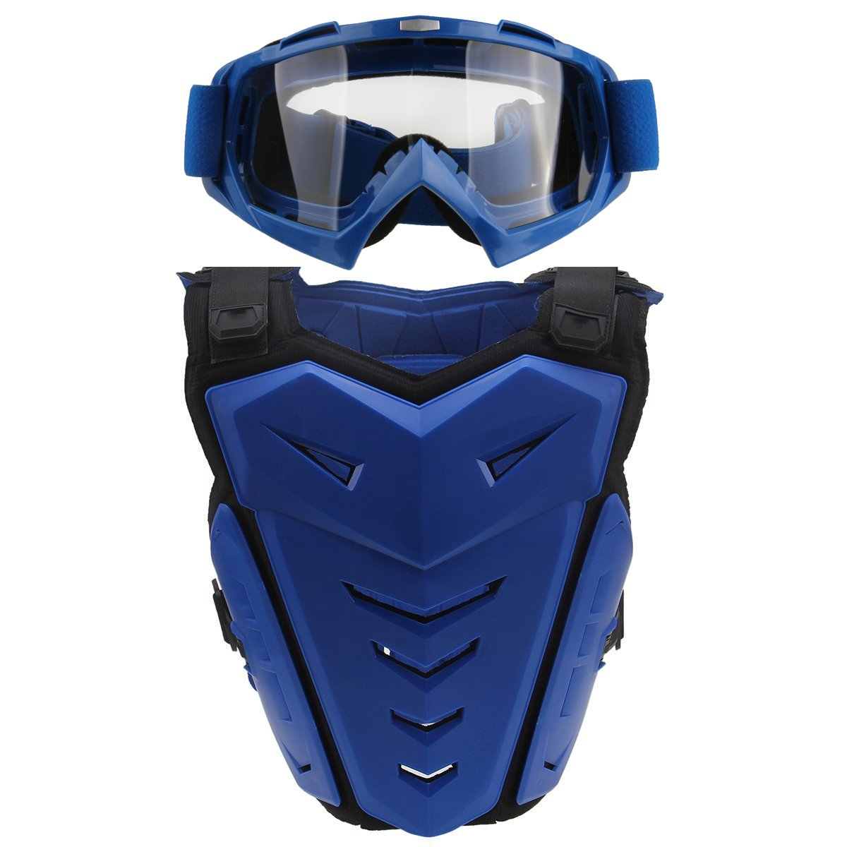 Chest Back Protector with Goggles,POSSBAY Motorcycle Gear Armor Glasses Set XL Blue for Scooter Motocross Dirt Bike Skiing Riding Cycling Skating