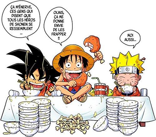 One Piece et Naruto parodique Luffy Naruto et Sangoku : La Recette dun Bon Shonen Manga Super Deformed Parodie DBZ, One Piece et Naruto T-Shirt b/éb/é Noir DBZ