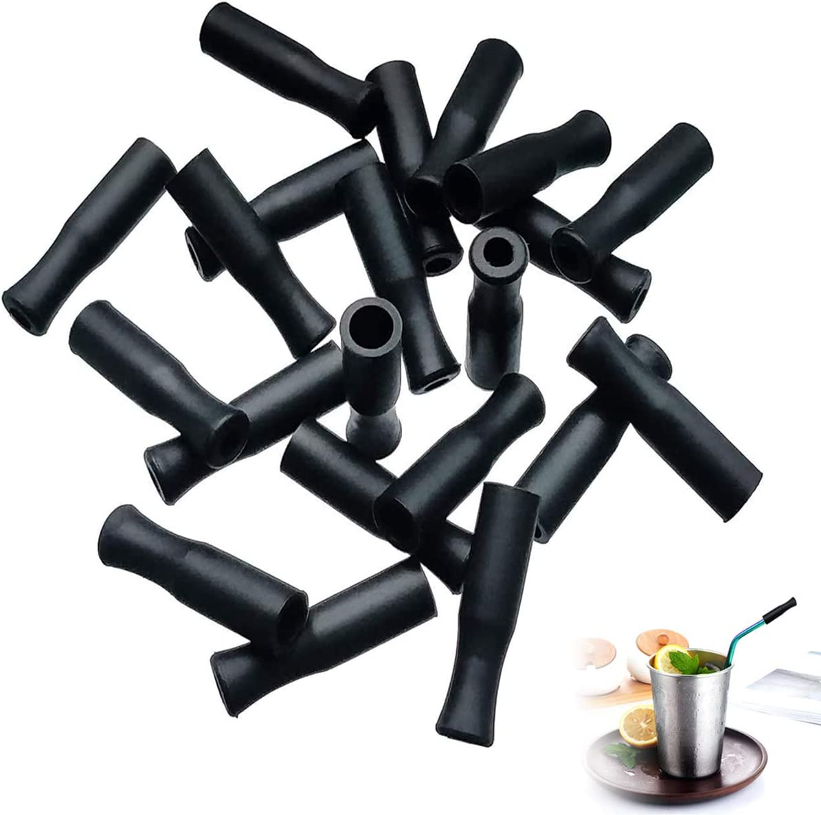 21Pcs Reusable Silicone Straw Tips, Stainless Straw Tips, Black Food Grade Straws Tips Covers Fit for 6mm Wide Stainless Steel Straws And Glass Straws