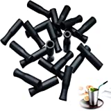 21Pcs Reusable Silicone Straw Tips, Stainless Straw Tips, Black Food Grade Straws Tips Covers Fit for 6mm Wide Stainless…