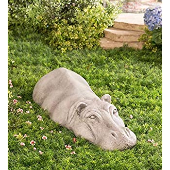 Wind & Weather Swimming Hippo Outdoor Garden Sculpture Yard Art Resin Animal Statue (Adult)