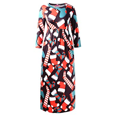 0ccc9c5fab2 Amazon.com  Franterd Merry Christmas Womens Christmas Dress Xmas Print Ugly  Christmas Long Evening Party Maxi Dress Plus Size  Clothing