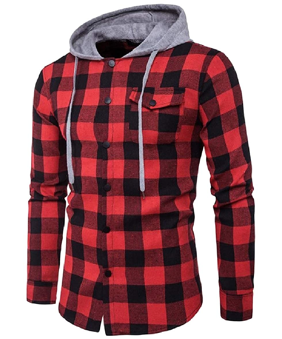 Zimaes-Men Hood Button Long Sleeve Plaid Pocket Casual Tees Shirts Top