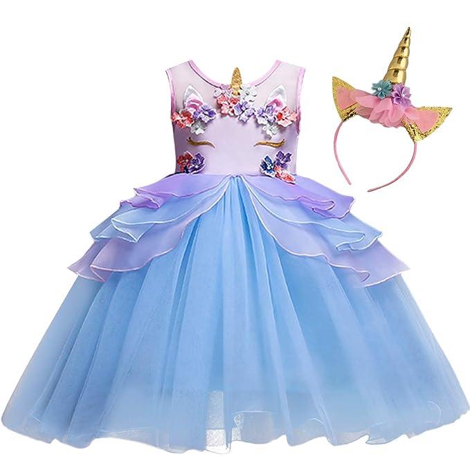 Amazon.com: MYRISAM - Disfraz de unicornio de tul para niñas ...