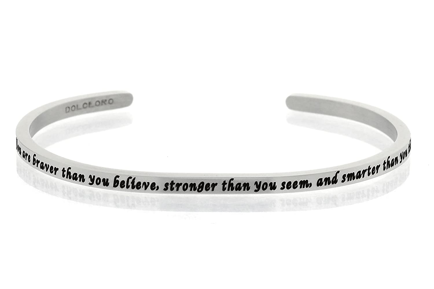 Dolceoro Inspirational Cuff Band, Polished 316L Surgical Grade Stainless Steel - Choose an Inspirational Phrase Mantra Phrase:Nevertheless CUFF-NEVERTHELESS SHE PERSISTED