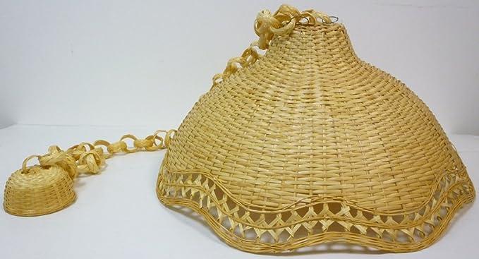 Plafoniere Vimini : Lampadario bambù vimini e giunco appendibile amazon illuminazione