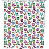 The Big Owl Assembly Shower Curtain: Large Waterproof Luxurious Bathroom Design Woven Fabric