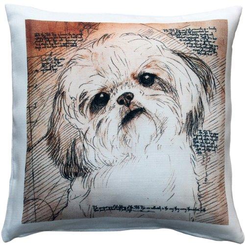 (PILLOW DÉCOR Shih Tzu Tilted Head Dog Pillow 17x17)