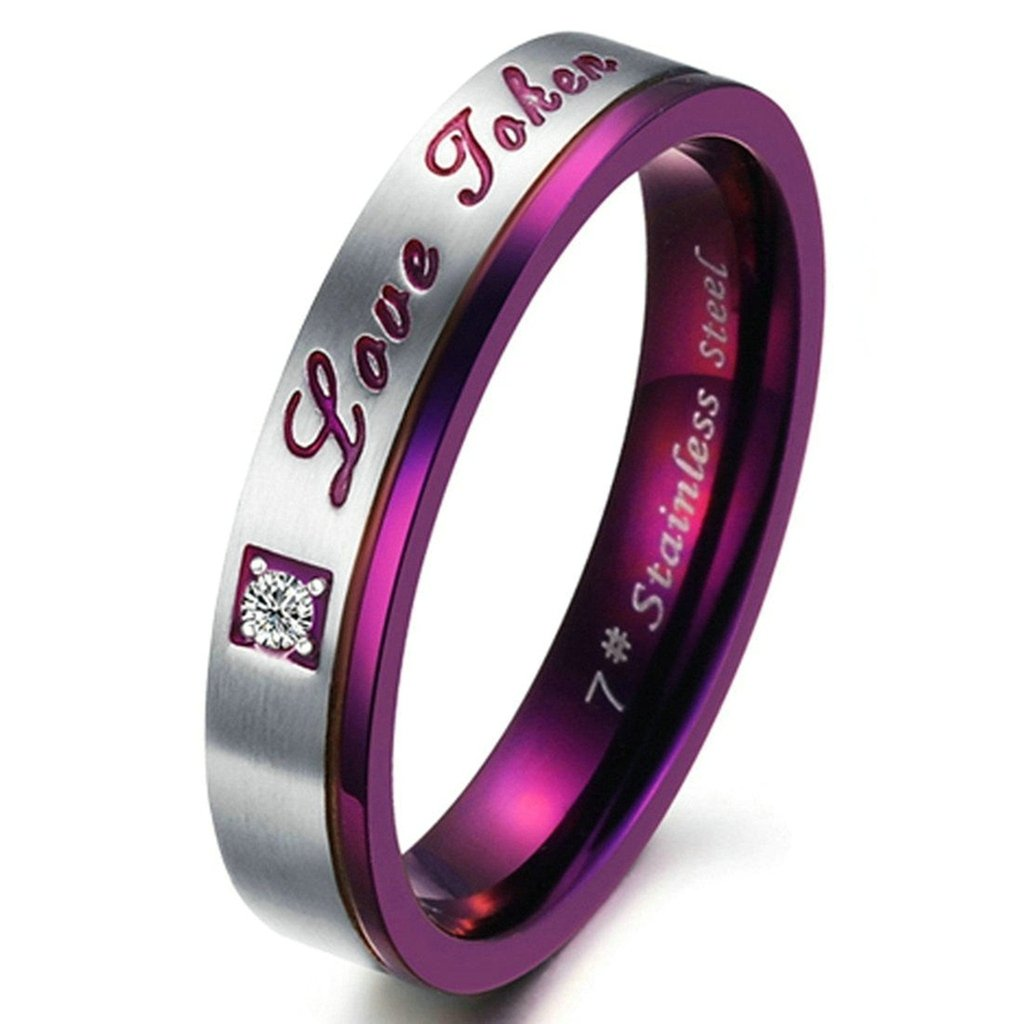 Bishilin Stainless Steel Couple ''Love Token'' Engraved Purple Wngagement Ring With Wedding Band for Women Size 6