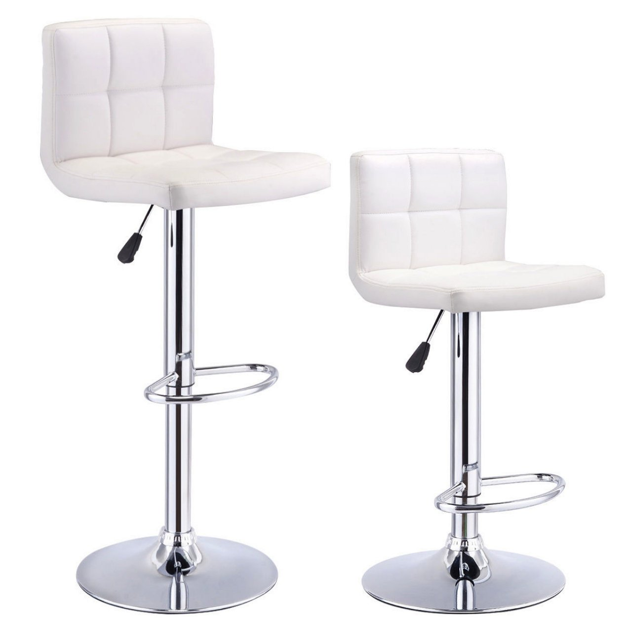 Set Of 2 Bar Stools Anti-aging PU Leather Adjustable Barstool 360 Degree Swivel Pub Style Comfortable Backrest/White #824