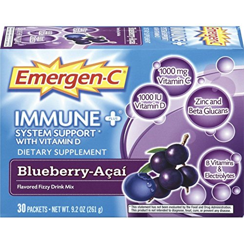 Emergen-C Immune+ System Support Dietary Supplement with Vitamin D (Blueberry-Acai Flavor, 30-Count 0.31 oz. Packets, Pack of 4)