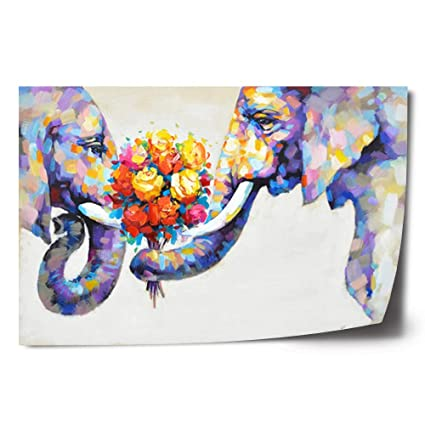 Crescent Art Abstract Elephant Flower Large Canvas Wall Art Animal Oil Painting On Canvas Print Wall Art Picture Home Wall Decor For Livingroom 36 X