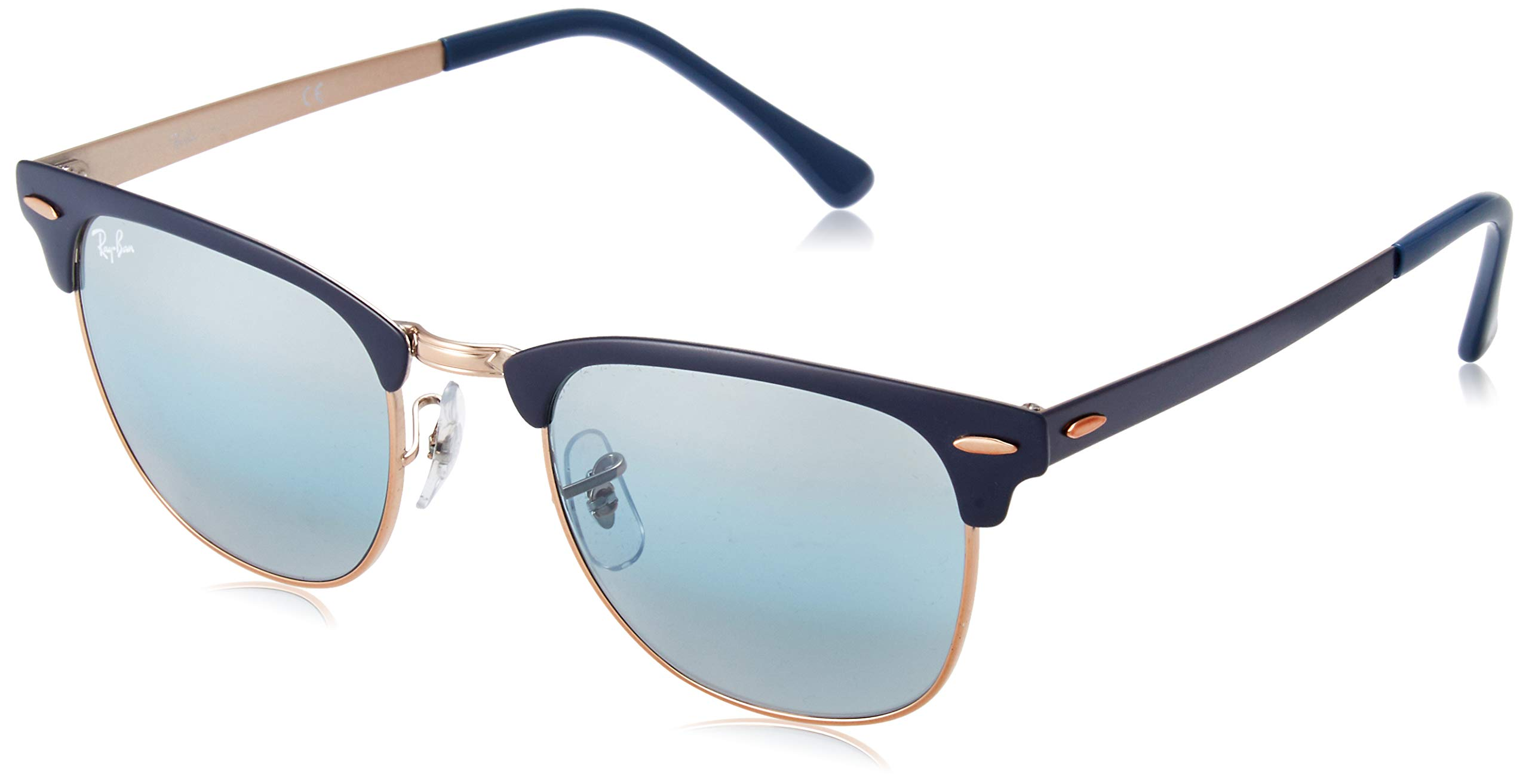 Ray-Ban RB3716 Clubmaster Metal Square Sunglasses, Blue on Copper/Blue Gradient Mirror, 51 mm