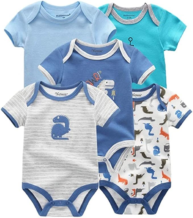 CUTEDWARF Baby Short-Sleeve Onesies Blue Thin Line Flag Bodysuit Baby Outfits