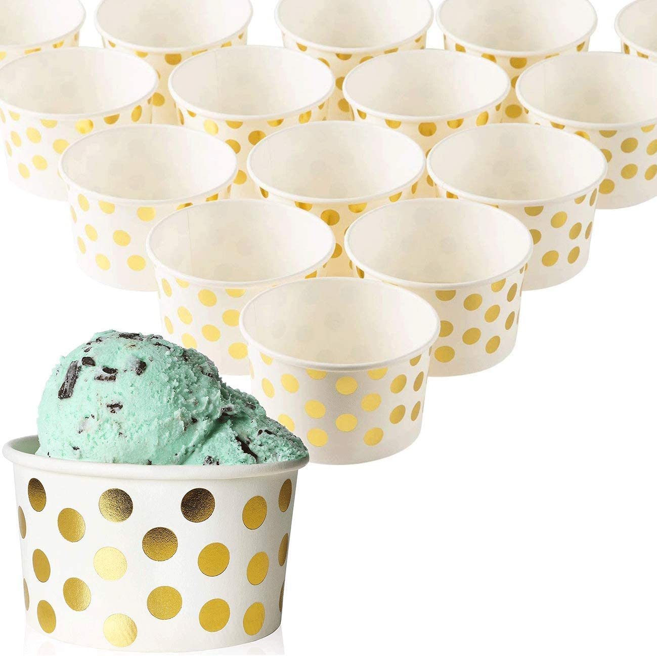 Blue Panda 50-Count Paper Ice Cream Sundae Cups, Yogurt Dessert Bowls, Gold Polka Dot Party Supplies, 8-Ounces