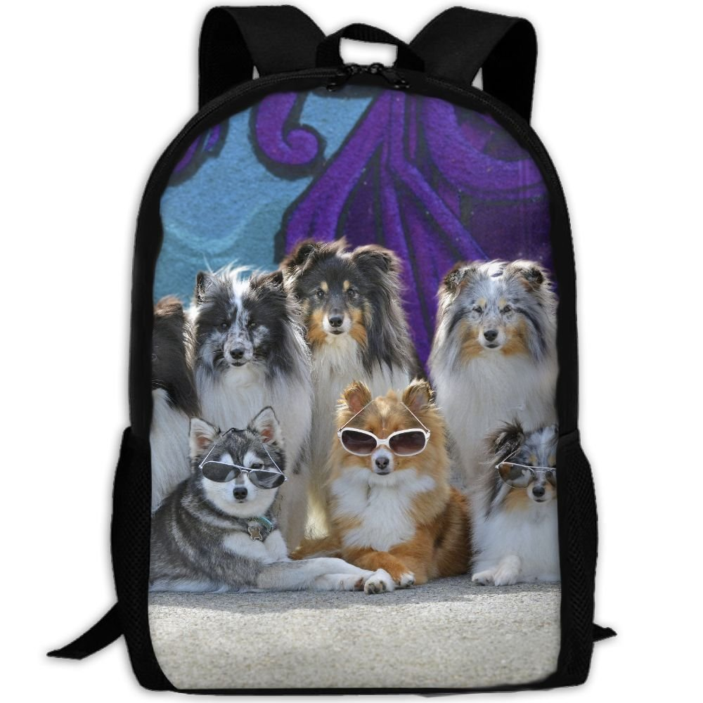 CY-STORE Dogs Many Collie Glasses Animals Print Custom Casual School Bag Backpack Travel Daypack Gifts