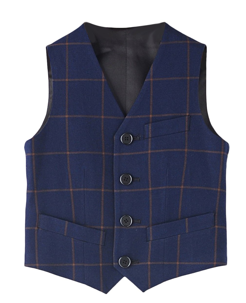 Jelord Kids Boys 4 Button V Collar Formal Suit Vest Waistcoat 110CM