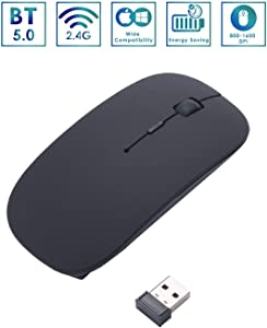 2.4G BT Wireless Mouse with USB Receiver, Portable USB Cordless Optical Mice Small Light Weighted Mouse with 4 Button Keys Compatible Computer Laptop Tablet Mac MacBook Gaming Travel DPI, Black