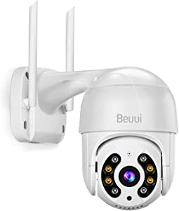 3.0 Megapixel Outdoor Security Camera,Beuui H.265+ Pan Tilt Zoom WiFi Home Surveillance IP Camera,4X Digital Zoom,2-Way Audio,Smart Human Detection PTZ
