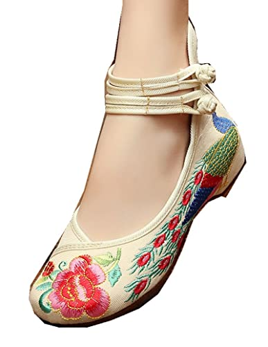 TIANRUI CROWN Women and Ladies  The Peacock Embroidery Casual Mary Jane  Shoesl (3 US 660c8cc55f38