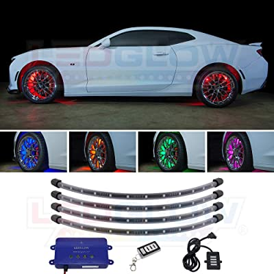 "LEDGlow 4pc Million Color LED Wheel Well Fender Accent Neon Lighting Kit for Cars & Trucks - 18 Solid Colors - 24"" Multi-Color Flexible Tubes - Water Resistant - Includes Control Box & Wireless Remote: Automotive"
