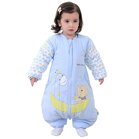 Saco de dormir para bebé con piernas forrado cálido de invierno, manga larga, saco de dormir de invierno con pies, para niñas, unisex, mono azul ...