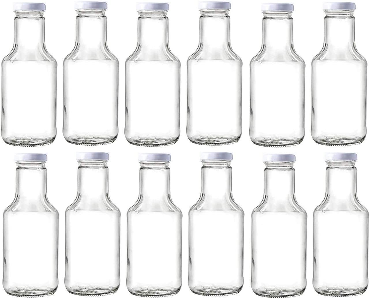 Nakpunar 14 oz Wide Mouth Empty Glass Bottles with Lids for Oil, BBQ Sauces, Milk, Water, Beverages (12, White)