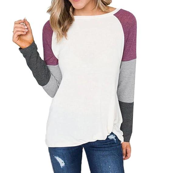 Tefamore Camiseta de Mujer Camisas O-Cuello Manga de Larga Camisa Patchwork Blusas