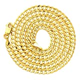 """LoveBling 10k Yellow Gold 3mm Plain Solid Curb Cuban Necklace W/ Lobster Lock ( 18"""" to 30"""")"""