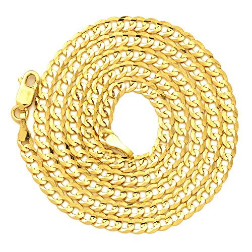 - LoveBling 10k Yellow Gold 3mm Plain Solid Curb Cuban Necklace W/Lobster Lock (24
