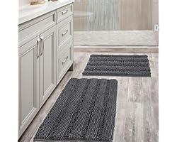 Grey Bath Mats for Bathroom Non Slip Ultra Thick and Soft Chenille Plush Striped Floor Mats Bath Rugs Set, Microfiber Door Ma