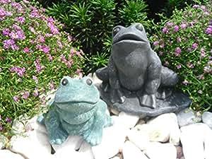 piedra Figura Rana Juego de 2, Jardín Figura Figura de piedra fundido Animales Basalto Gris Pátina, color verde