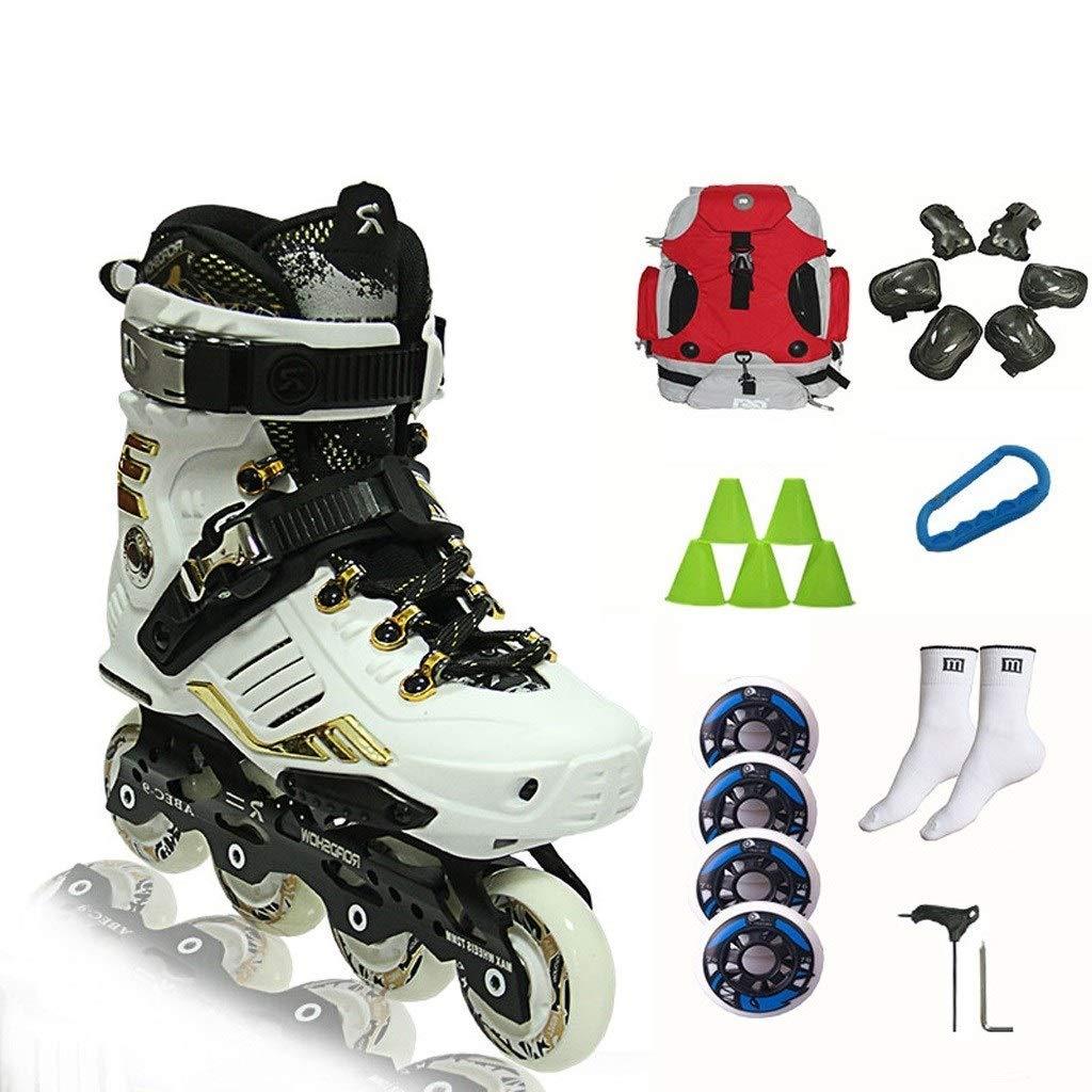 スポーツインラインスケート、男性と女性のプロのスピードスケート靴、パフォーマンスローラースケート、35-44ヤード2色 (Color : 白い, Size : EU 39/US 7/UK 6/JP 24.5cm) 白い EU 39/US 7/UK 6/JP 24.5cm