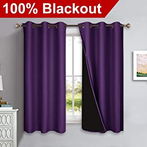NICETOWN Room Cooling 100% Blackout Curtain Panels, Black Liner Curtains for Kitchen Room, Noise Reducing and Heat Blocking Drapes for Windows (Set of 2, Royal Purple, 42-inch Wide by 63-inch Long)