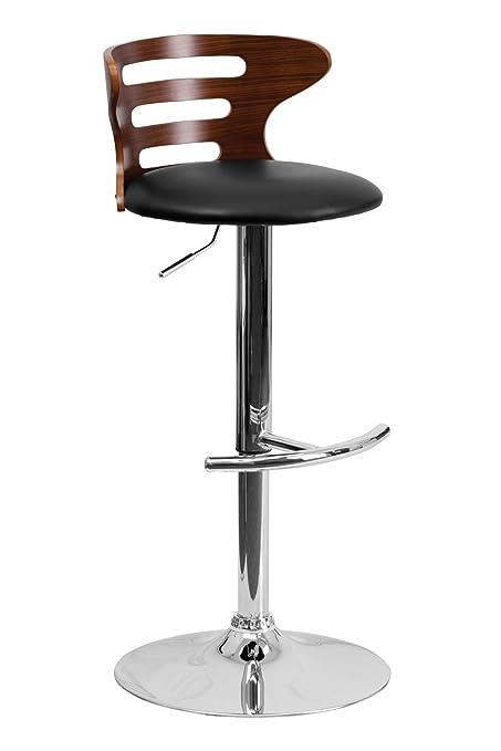 Wondrous Walnut Adjustable Height Bar Stool Black Vinyl Seat Cutout Pabps2019 Chair Design Images Pabps2019Com