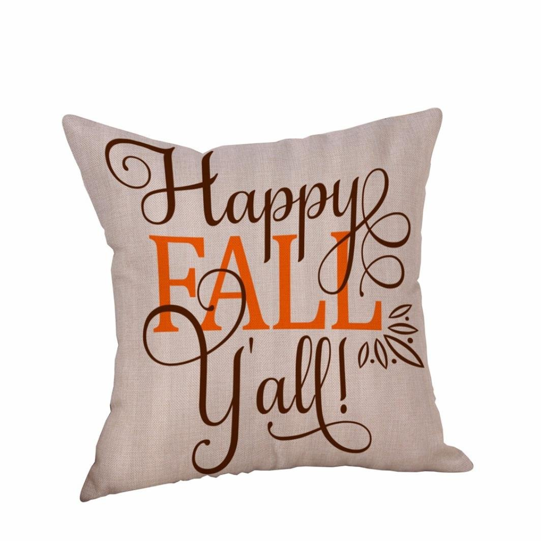 Kimloog Hot Sale! ' Happy Fall ' Letters Print 18 x 18 Halloween Throw Pillow Cases Linen Sofa Home Decor Cushion Cover (A) KG_AB0005
