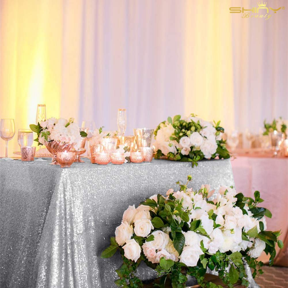 Silver Tablecloth 70x70-Inch Sequin Table Cover Silver Rectangle Tablecloth by ShiDianYi