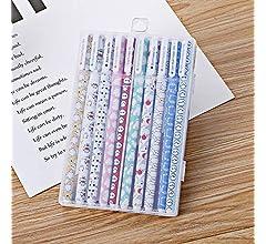 bonito Kawaii Papeler/ía estudiantes suministros escolares coloridos SENRISE 10 bol/ígrafos de tinta de gel colorido 10 bol/ígrafos y 10 colores