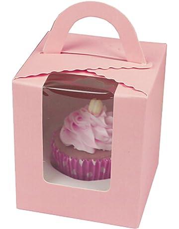 Set de 12 portátil Cupcake cajas contenedores con PVC Ventana/cartón Insertar