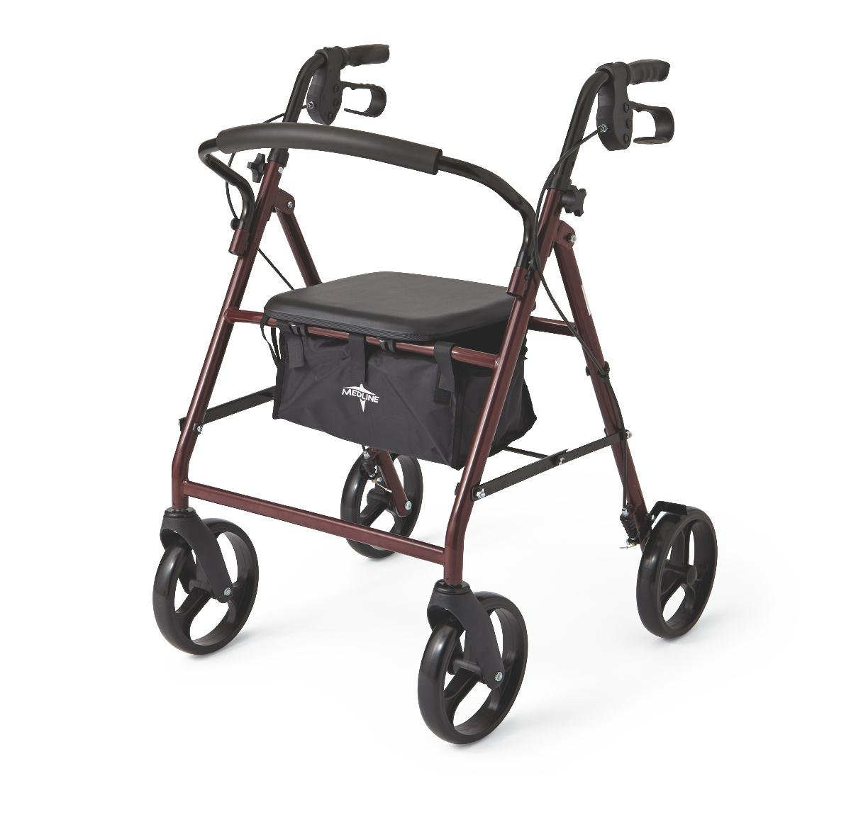 Medline Standard Adult Steel Folding Rollator Walker Aid with 8 Inch Wheels, Burgundy