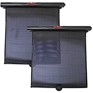 AutoMuko Car Window Roller Shade, By Retractable Car Sunshade for Side Window - Blocks Harmful UV Rays and Offers Effective Sun Glare Protection (2 Pack)