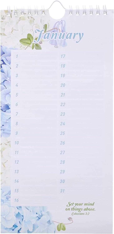 Hortensia Calendrier sp/écial jours Isaiah 60:1 Calendrier perp/étuel