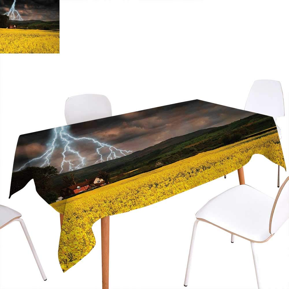 """Nature Washable Tablecloth Thunderstorm Over The Meadow Valley with Scary Dark Sky Rural Farm Scenery Waterproof Tablecloths 54""""x72"""" Yellow Green Purple"""