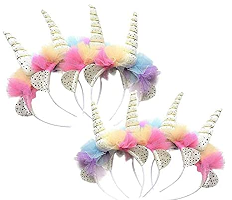3ad86c880a92 Amazon.com  Pop-On Posy Girls Unicorn Horn Party Headbands Rainbow ...