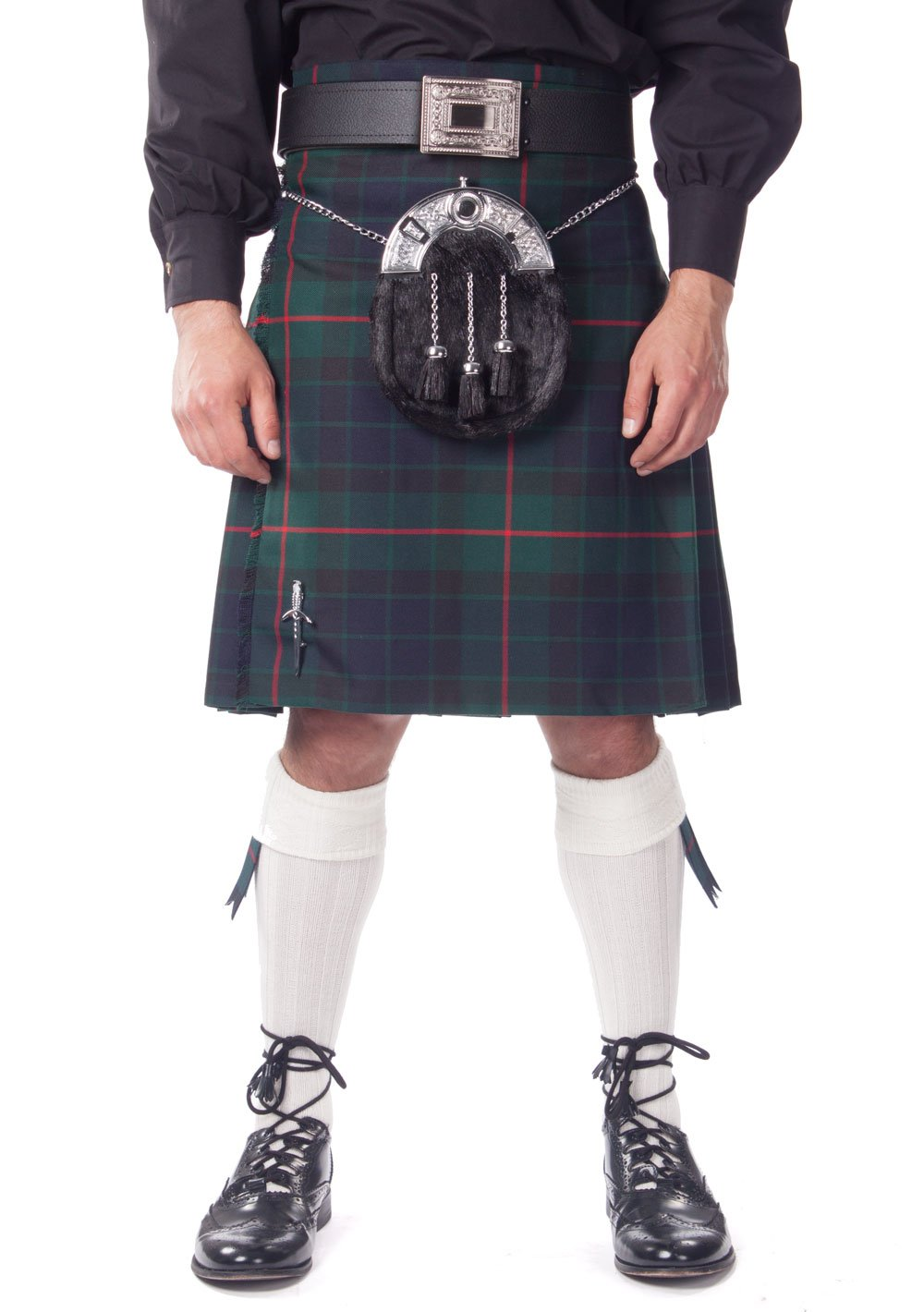 Kilt Society Mens 7 Piece Full Dress Kilt Outfit- Gunn Tartan with White Hose 42'' to 46''