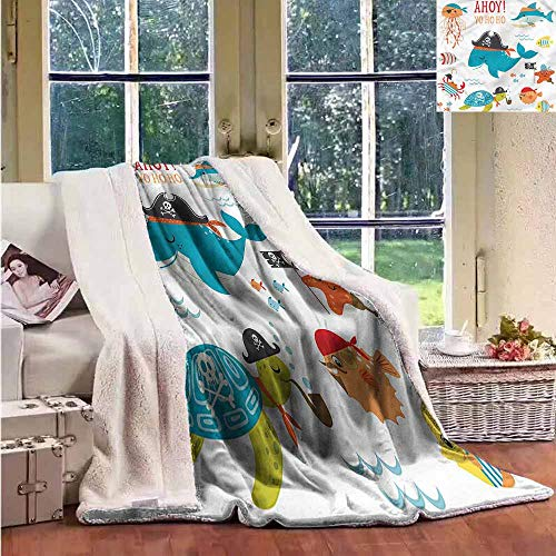 Throw Blanket Kids Nautical Pirates Funny Design Autumn and Winter Thick Blanket W59x47L