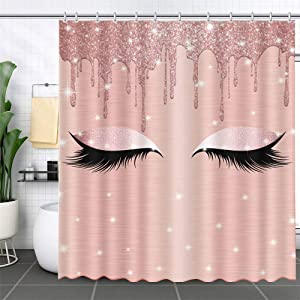 MEHOFOND Dripping Shower Curtain(No Glitter) Spark Rose Gold Drips Makeup Lashes Gorgeous Waterproof 12 Hooks Included 72x72 inches Bathroom Decor Polyester Fabric