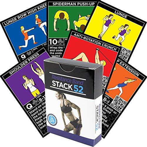 Stack Workout - Stack 52 Resistance Band Exercise Cards. Exercise Band Workout Playing Card Game. Video Instructions Included. Home Fitness Training Program for Elastic Rubber Stretch Band Sets. (Original Deck)