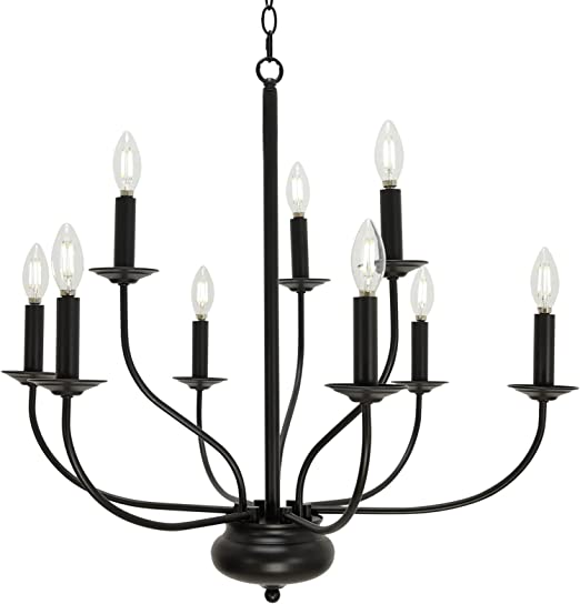 TULUCE Black Farmhouse Chandelier 9-Light Industrial Rustic Pendant Light Fixture, Chandelier Classic Candle Pendant Ceiling Hanging Light for Foyer Kitchen Island Living Room Dining Room Foyer