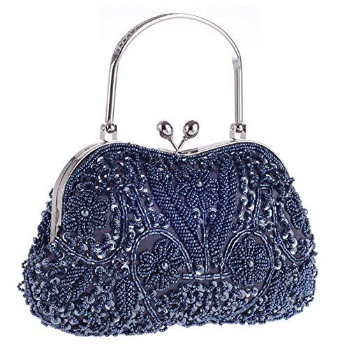 Beaded Evening Bag Metal Navy Clutch Vintage Prom Purse Top Jewels Floral Party Lock handle Kissing RAwwTq4Wf